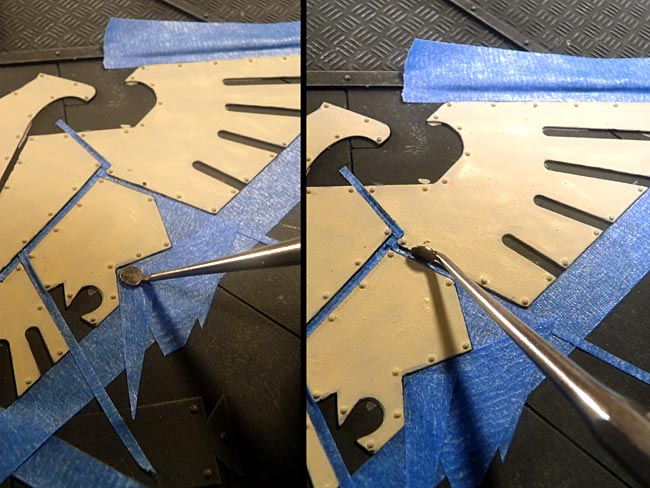 intricate application of masking for airbrushing